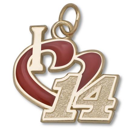 "Tony Stewart 1/2"" ""I Heart 14"" Enameled Charm - 10KT Gold Jewelry"