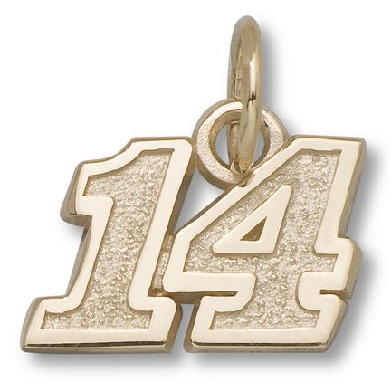 "Tony Stewart #14 5/16"" Small Charm - 14KT Gold Jewelry"