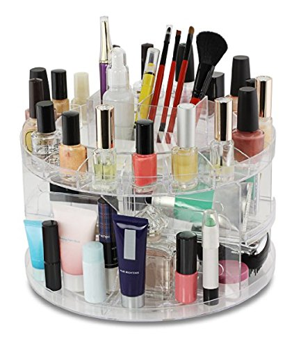Total Vision 12010718 Cosmetics Acrylic Carousel Makeup & Jewelry Organizer Clear