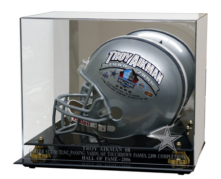 Troy Aikman Golden Classic Football Helmet Display Case with 2006 Hall of Fame Logo