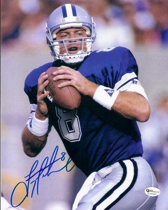 "Troy Aikman ""Holding Ball"" Autographed Dallas Cowboys 8"" x 10"" Photograph (Unframed)"
