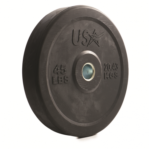 Troy Barbell GBO-045SBP 45 lbs USA Rubber Bumper Plate Black