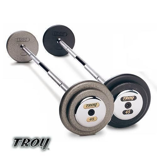 Troy Barbell HFB-045C Pro-Style Commercial Grade Gray Pro-Style Curl Barbell - 45 Pounds