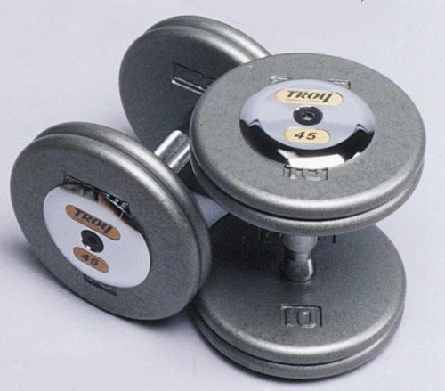 Troy Barbell HFD-045C Pro-Style Dumbbell With Chrome End Cap - 45 Pounds - Sold as Pairs