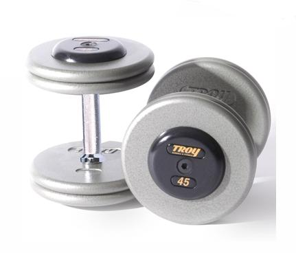 Troy Barbell HFD-12.5R Grey Troy Pro-Style Cast dumbbells - Rubber endcaps - 12.5 lbs. - Sold as Pairs