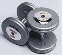 Troy Barbell HFD-27.5C Grey Troy Pro-Style Cast dumbbells - Chrome endcaps - 27.5 lbs. - Sold as Pairs