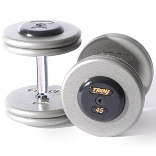 Troy Barbell HFD-32.5C Grey Troy Pro-Style Cast dumbbells - Chrome endcaps - 32.5 lbs. - Sold as Pairs