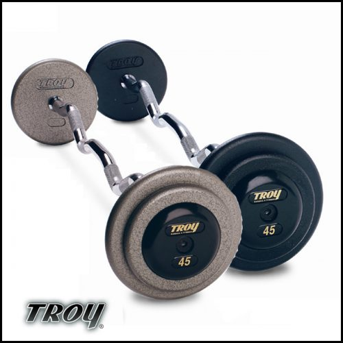 Troy Barbell HZB-065R Pro-Style Fix Curl Barbell - Gray Plates And Rubber End Caps - 65 Pounds