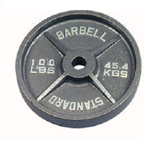Troy Barbell O-100 Gray Olympic Weight Plate - 100 Pounds