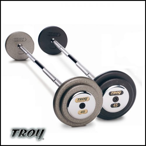 Troy Barbell PFB-060C Pro-Style Fix Curl Barbell - Black Plates And Chrome End Caps - 60 Pounds