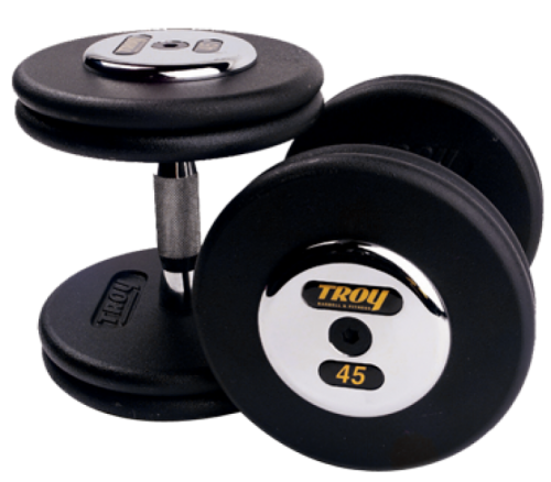 Troy Barbell PFD-050C Black Troy Pro-Style Cast dumbbells - Chrome endplates - 50 lbs. - Sold as Pairs
