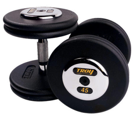 Troy Barbell PFD-055C Black Troy Pro-Style Cast dumbbells - Chrome endplates - 55 lbs. - Sold as Pairs