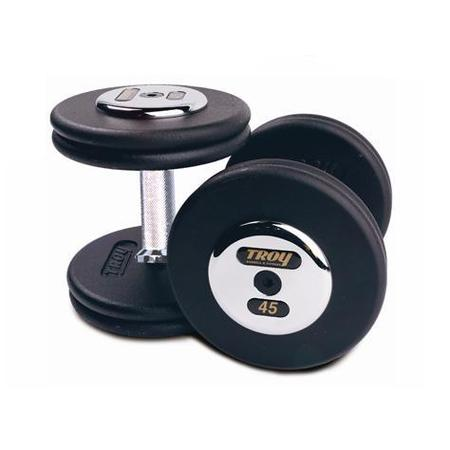 Troy Barbell PFD-065C Black Troy Pro-Style Cast dumbbells - Chrome endplates - 65 lbs. - Sold as Pairs