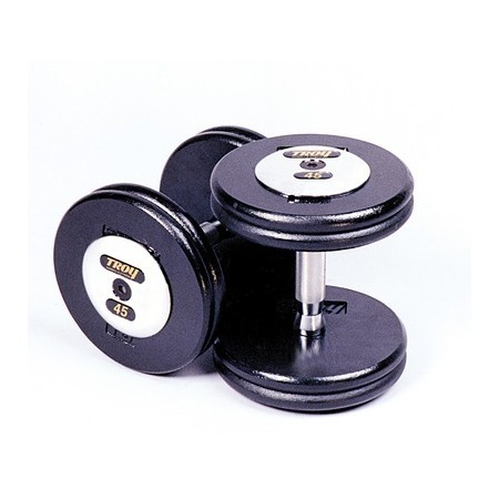 Troy Barbell PFD-42.5C Black Troy Pro-Style Cast dumbbells - Chrome endplates - 42.5 lbs. - Sold as Pairs