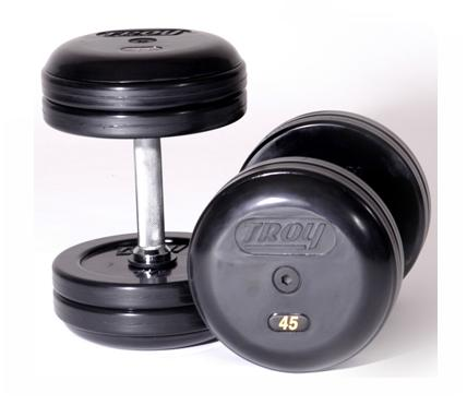 Troy Barbell RUFD-12.5 Troy Pro-Style Rubber dumbbells - 12.5 lbs. - sold as pairs
