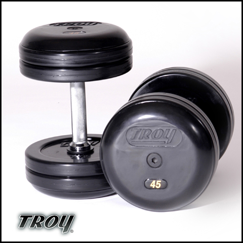 Troy Barbell RUFDC-025R Rubber Encased Pro-Style Dumbbells With Rubber End Cap - 25 Pounds - sold as pairs