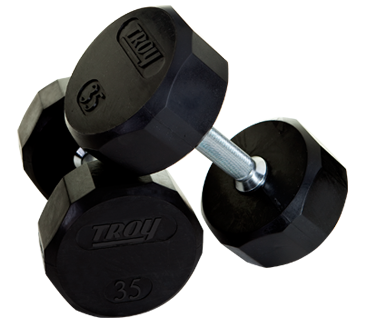 Troy Barbell TSD-075R Troy 12-Sided Rubber Encased Dumbbell - 75 lbs. - Sold as single dumbbell