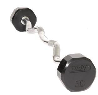 Troy Barbell TZB-020R 12-Sided Rubber Encased Ez-Curl Contoured Barbell - 20 Pounds