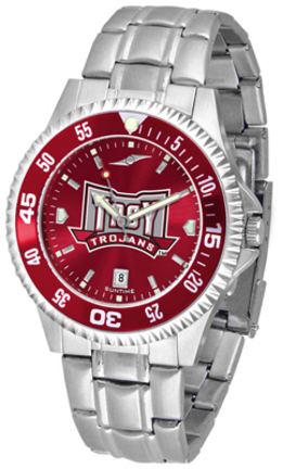 Troy State Trojans Competitor AnoChrome Men's Watch with Steel Band and Colored Bezel