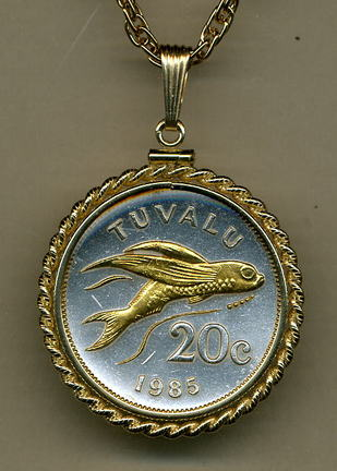 "Tuvalu 20 Cent ""Flying Fish"" Two Tone Gold Filled Rope Bezel Coin Pendant with 24"" Chain"