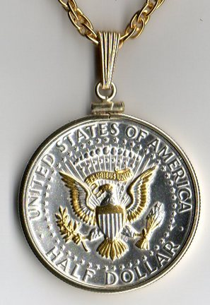 "U.S. Kennedy Half Dollar Reverse Eagle (Minted 1970 - Date) Two Tone Plain Bezel Coin with 24"" Chain"