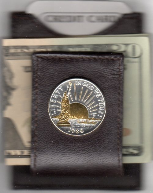 U.S. Statue of Liberty Half Dollar (1986) Two Tone Coin Folding Money Clip with Silver Highlights