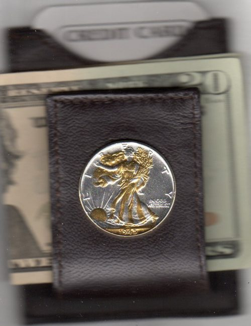 U.S. Walking Liberty Silver Half Dollar (1916 - 1947) Two Tone Coin Folding Money Clip with Silver Highlights