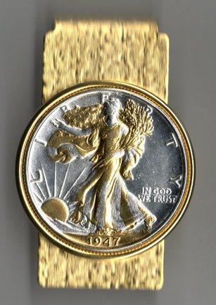 U.S. Walking Liberty Silver Half Dollar Two Tone Coin Hinge Money Clip (Minted 1916 - 1947)