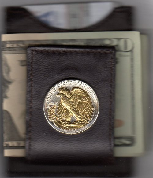 U.S. Walking Liberty Silver Reverse Half Dollar (1916 - 1947) Two Tone Coin Folding Money Clip