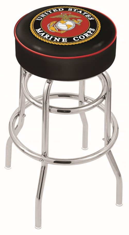 "US Marines (L7C1) 30"" Tall Logo Bar Stool by Holland Bar Stool Company (with Double Ring Swivel Chrome Base)"