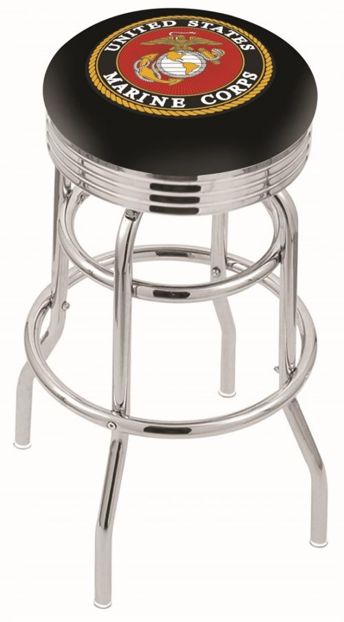 "US Marines (L7C3C) 25"" Tall Logo Bar Stool by Holland Bar Stool Company (with Double Ring Swivel Chrome Base)"