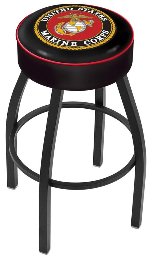 "US Marines (L8B1) 30"" Tall Logo Bar Stool by Holland Bar Stool Company (with Single Ring Swivel Black Solid Welded Base)"