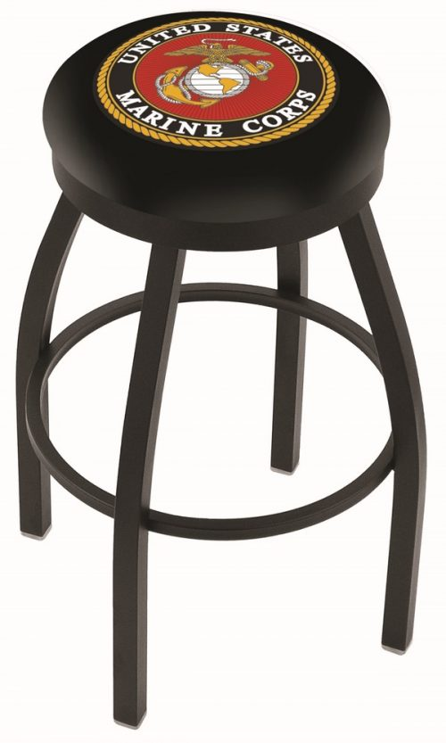 "US Marines (L8B2B) 25"" Tall Logo Bar Stool by Holland Bar Stool Company (with Single Ring Swivel Black Solid Welded Base)"