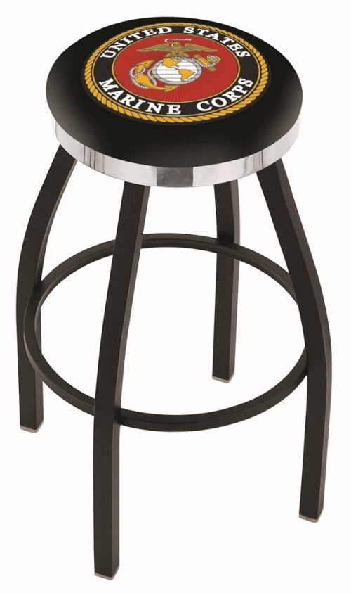 "US Marines (L8B2C) 25"" Tall Logo Bar Stool by Holland Bar Stool Company (with Single Ring Swivel Black Solid Welded Base)"