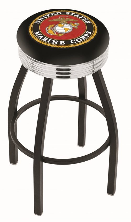 "US Marines (L8B3C) 25"" Tall Logo Bar Stool by Holland Bar Stool Company (with Single Ring Swivel Black Solid Welded Base)"