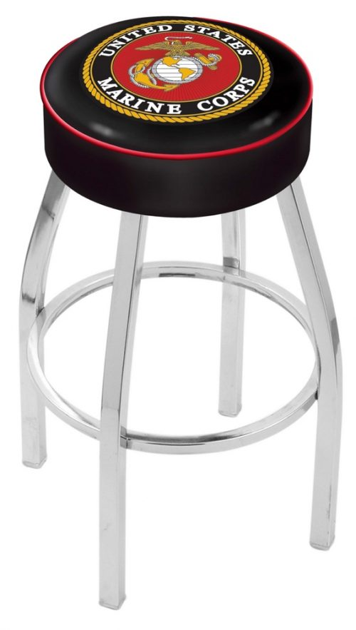 """US Marines (L8C1) 30"""" Tall Logo Bar Stool by Holland Bar Stool Company (with Single Ring Swivel Chrome Solid Welded Base)"""