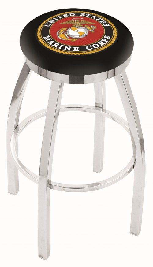 "US Marines (L8C2C) 25"" Tall Logo Bar Stool by Holland Bar Stool Company (with Single Ring Swivel Chrome Solid Welded Base)"