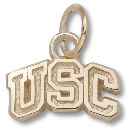 """USC Trojans 1/4"""" """"USC"""" Arch Charm - 14KT Gold Jewelry"""