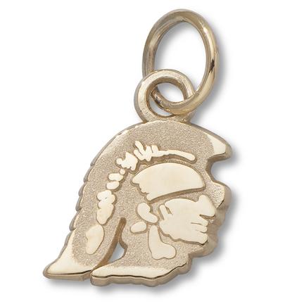 """USC Trojans 3/8"""" Trojan Head Charm - 14KT Gold Jewelry"""
