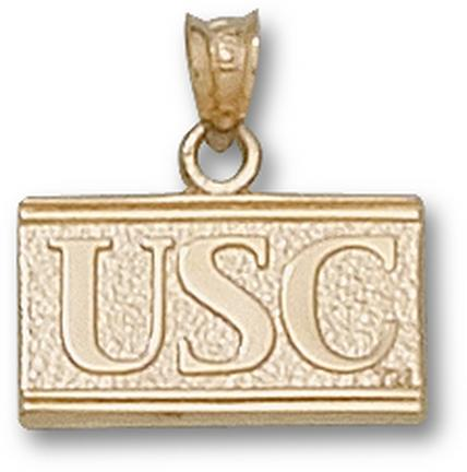 "USC Trojans New Square Block ""USC"" Pendant - 10KT Gold Jewelry"