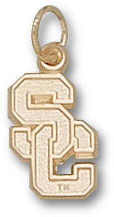 "USC Trojans ""SC"" 1/2"" Charm - 14KT Gold Jewelry"