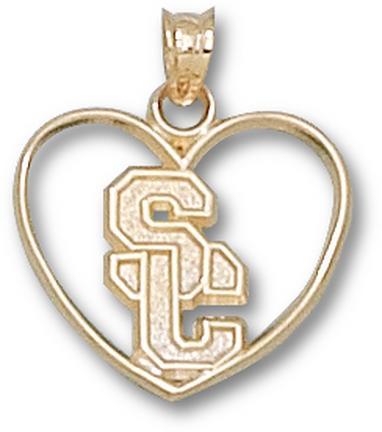 "USC Trojans ""SC"" Heart Pendant - 10KT Gold Jewelry"
