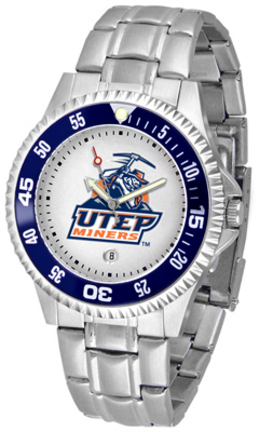 UTEP Texas (El Paso) Miners Competitor Men's Watch with Steel Band