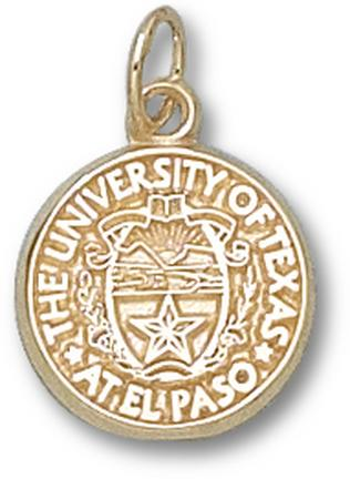 "UTEP Texas (El Paso) Miners ""Seal"" 1/2"" Charm - 10KT Gold Jewelry"