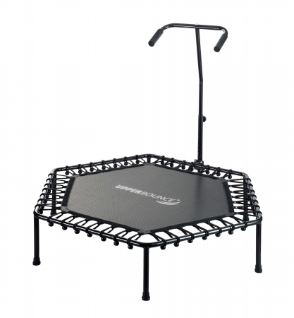 Upper Bounce SK-HX50 50 in. Hexagonal Fitness Mini-Trampoline T-Shaped Adjustable Hand Rail & Bungee Cord Suspension