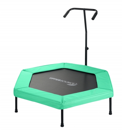 Upper Bounce UBG-HX50-GR 50 in. Hexagonal Fitness Mini-Trampoline T-Shaped Adjustable Hand Rail & Bungee Cord Suspension - Green