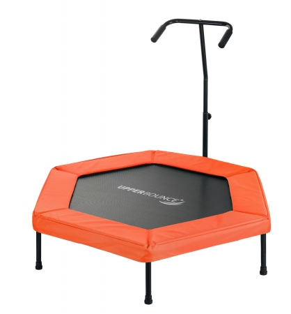Upper Bounce UBG-HX50-OR 50 in. Hexagonal Fitness Mini-Trampoline T-Shaped Adjustable Hand Rail & Bungee Cord Suspension - Orange