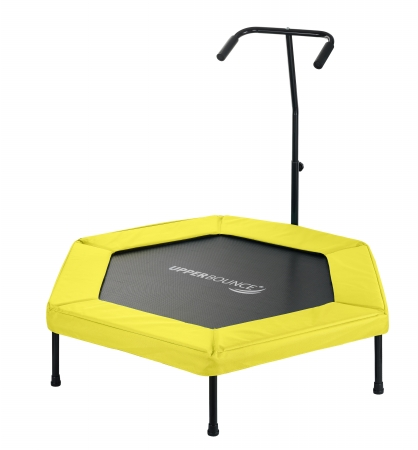 Upper Bounce UBG-HX50-YL 50 in. Hexagonal Fitness Mini-Trampoline T-Shaped Adjustable Hand Rail & Bungee Cord Suspension - Yellow