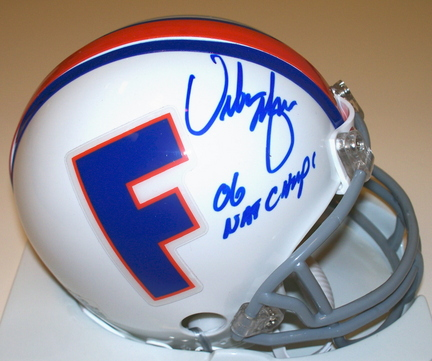 "Urban Meyer Autographed Florida Gators Throwback Mini Helmet with ""06 NATL CHAMPS"" inscription"