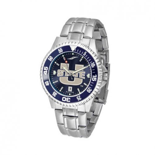 Utah State Aggies Competitor AnoChrome Men's Watch with Steel Band and Colored Bezel